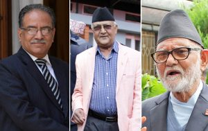 UCPN-Maoist Chairman Pushpa Kamal Dahal (left), CPN-UML Chairman KP Sharma Oli (centre) and Nepali Congress Chairman Sushil Koirala