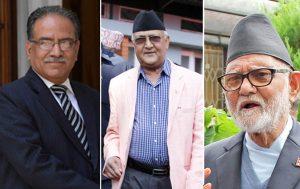 UCPN-Maoist Chairman Pushpa Kamal Dahal (left), CPN-UML Chairman KP Sharma Oli (centre) and Nepali Congress Chairman Sushil Koirala