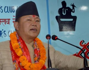 Minister for Information and Communication Technology Sher Dhan Rai speaks with journalists in Kathmandu, on Friday, November 6, 2015. Photo: Reporters' Club